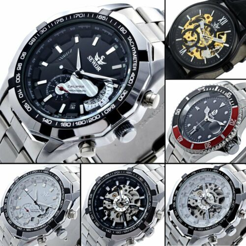 Mens Silver Stainless Steel Band Skeleton Wrist Automatic Watch Mechanical Sport