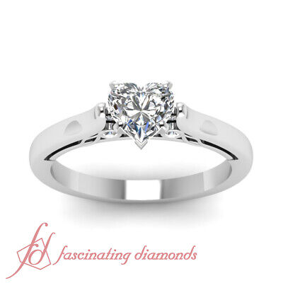Cathedral Wedding Ring With 1/2 Ct Heart Shape Natural GIA Certified Diamond GIA 2