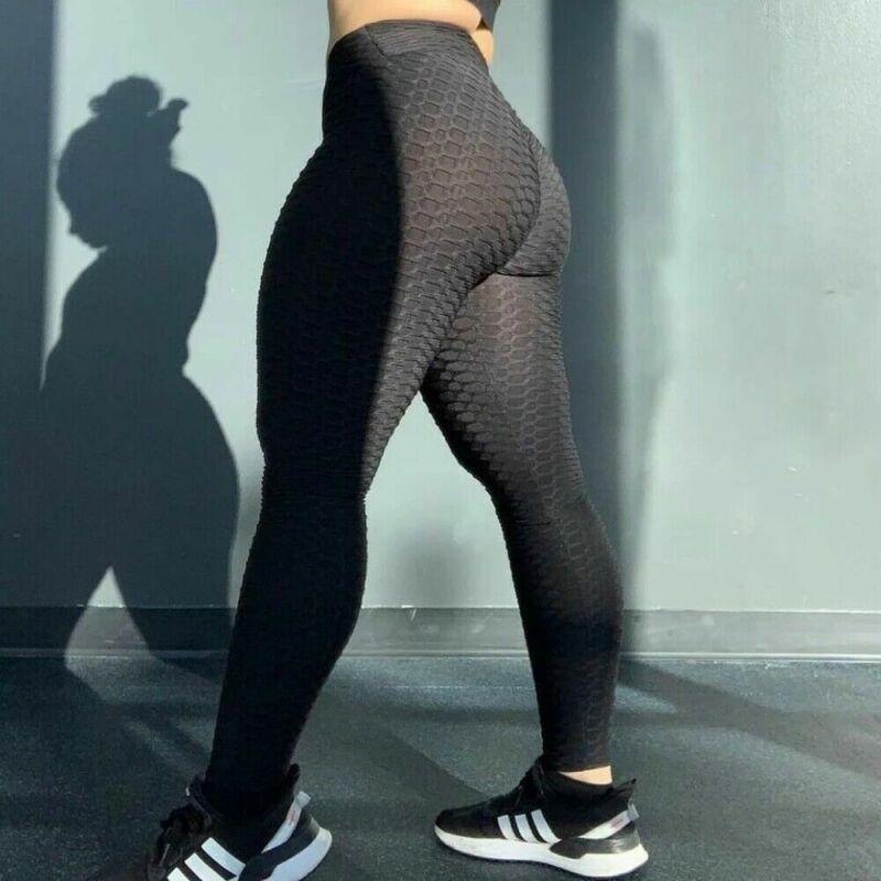 Us Women High Waist Tiktok Leggings Ruched Anti-cellulite Yoga Pants Gym Fitness