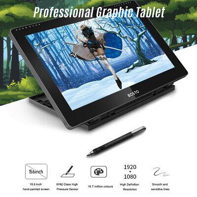 "BOSTO 16HD 15.6"" IPS Graphics Drawing Tablet Display Monitor & Stylus Pen U8A8"
