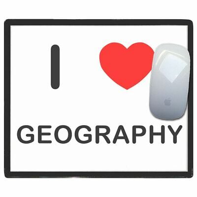I Love Heart Geography - Thin Pictoral Plastic Mouse Pad Mat Badgebeast