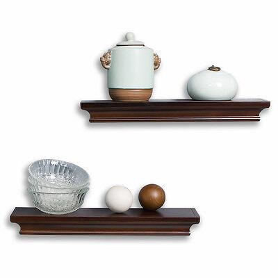 Decorative Wall Shelves Set Espresso Brown Finish Of 2pcs
