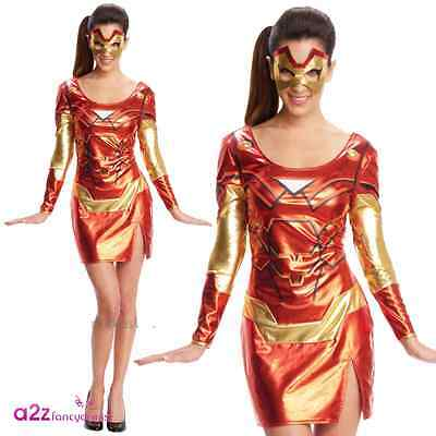 Ladies Rescue Costume Miss Iron Man Sexy Avengers Superhero Adult Fancy - Sexy Avengers Kostüm