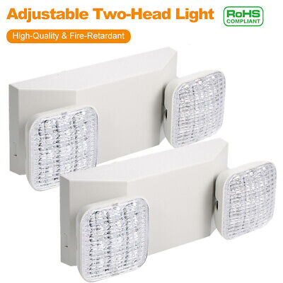 2x Led Emergency Exit Light Adjustable 2 Head Hardwired W Battery Back-up D2f1