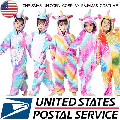 Child Unicorn Costume (Girls Unicorn Pajamas Animal Cosplay Costume for Kids Christmas Dress Up)