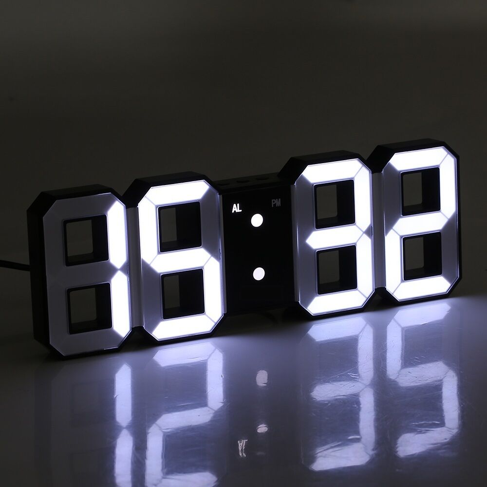 Multi-Function Large 3D LED Digital Wall Clock Alarm Snooze Function 12h/24h