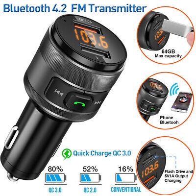 Bluetooth 4.2 FM Transmitter Car Radio MP3 Player W/ QC3.0 USB Fast Charge Port