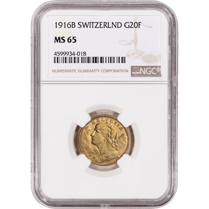 1916 B Switzerland Gold 20 Francs - NGC MS65