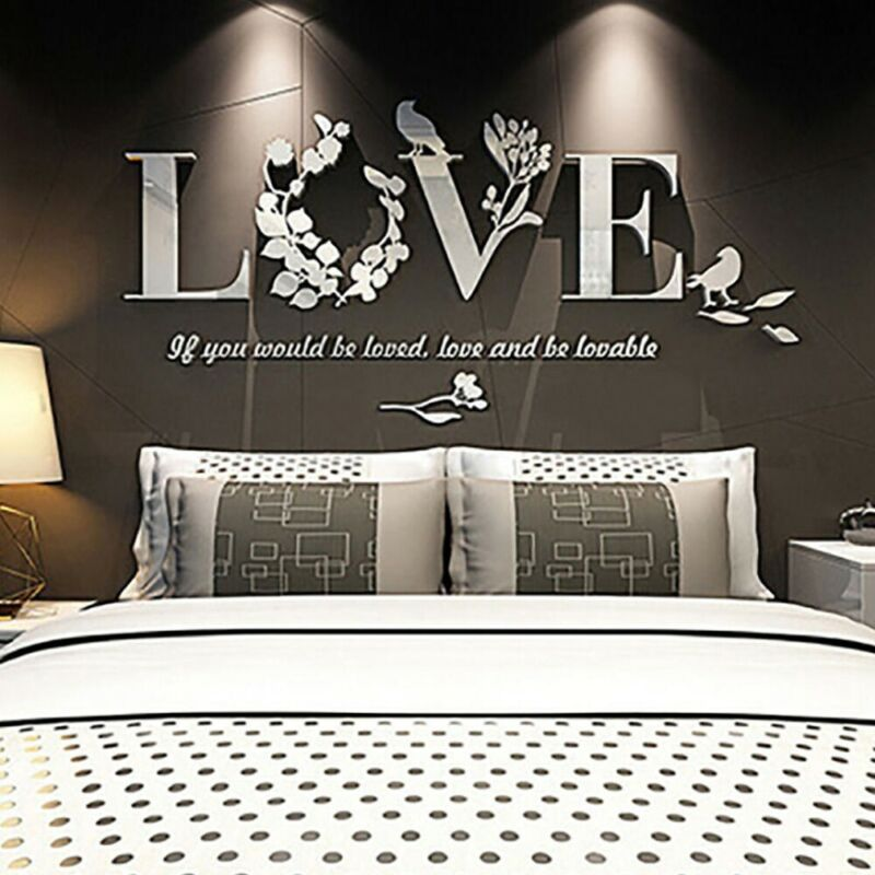 Home Decoration - LOVE Wall Stickers Lettering Art Quote Sticker 3D Leaf For Living Room Bedroom