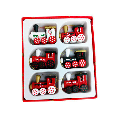 6PCS/Set Christmas Decorations Painted Train Heads Cartoon Hanging Ornament