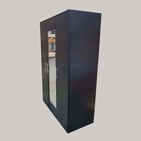 *High Quality* MODERN Tommy WARDROBE HIGH GLOSS MIRROR In 3 Door Black,White,Oak,Beech,Wenge Color