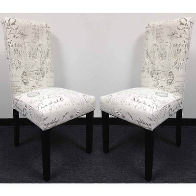 (Set of 2 Dining Side Chair Upholstery French Script Micro Suede Print High Back)