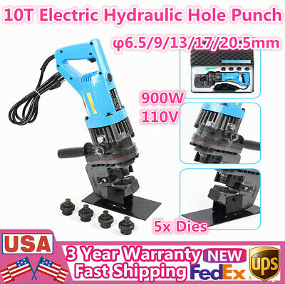 900w Hydraulic Electric Hole Punch Tool Hole Making Puncher W 6.5mm-20.5mm Dies