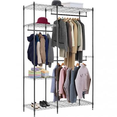 Hanging Closet Organizer and Storage Clothes Rack Sturdy 3 Rod Garment Rack