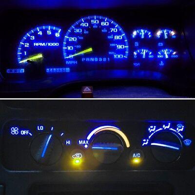 14 Royal Blue LED Kit For 1992-1999 Chevrolet Trucks Gauge Cluster & AC Controls