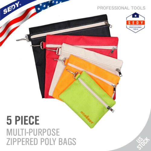 5-Pack Assorted Zipper Tool Bags Canvas Utility Durable Stor
