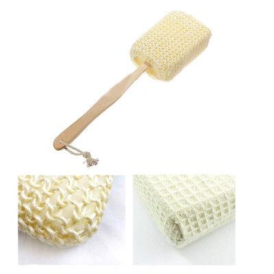 Natural Sisal Fiber Bath Body Brush Spa Shower Back Sponge Scrubber Long Handle