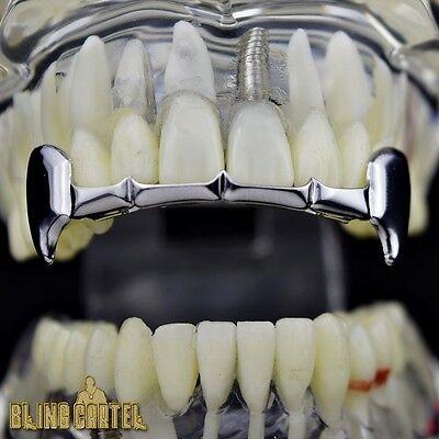 Fang Grillz Top Row Half Teeth Fangs Silver Tone Slim Bar Upper Vampire Grills - Silver Vampire Fangs