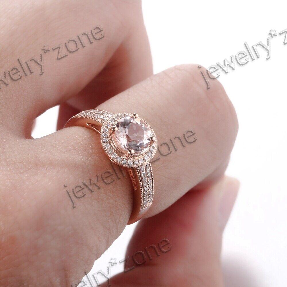 Round Cut White Topaz 18K White Gold Cathedral Diamonds Gemstone ...