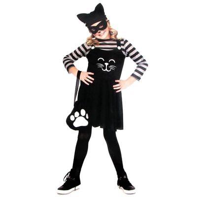 Cat Burglar Mask (Girls Cat Burglar Halloween Costume & Mask, 5-Piece Set Size M (8-10) NWT)