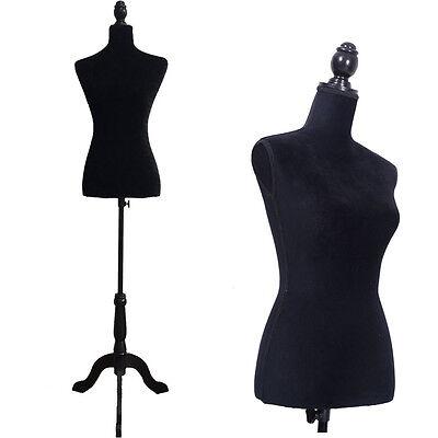 New 36 Black Female Mannequin Torso Dress Clothing Display W Black Tripod Stand
