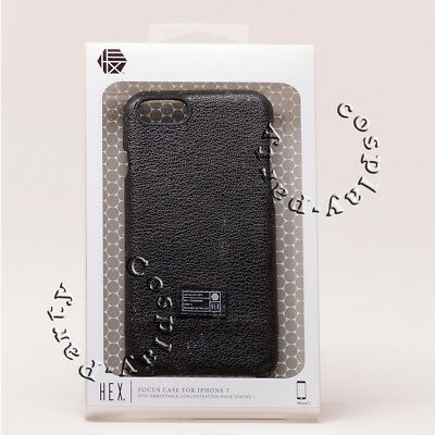 """Hex Focus Leather Slim Thin Skin Snap Case For iPhone 7 iPhone 8 4.7"""" Black"""