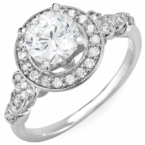 GIA Certified Round Brilliant Cut Diamond Engagement Ring 2.00 Carat 18k Gold