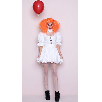 Halloween Little Red Riding Hood Scary (Women Pennywise IT Scary Clown Costume Halloween Cosplay Fancy)