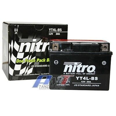Nitro Motorradbatterie YT4L-BS 3 AH 12V Batterie Roller