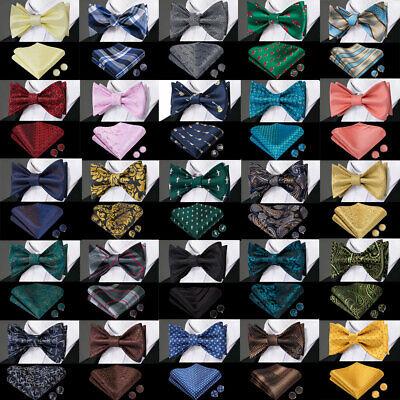USA Mens Self TIed Bow Ties Striped Paisley Silk Bow Tie Hanky Cufflinks Sets -