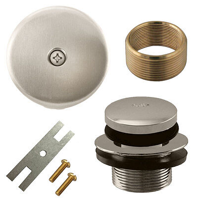 Brushed Nickel Toe Touch Tap Bath Tub Drain Conversion Kit Assembly, Overflow