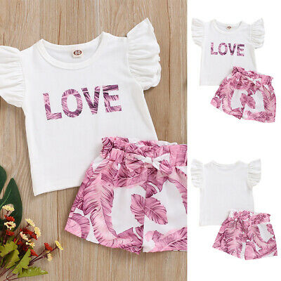 Toddler Kids Baby Girl Outfits Set Tops T-shirt+Shorts Pants Summer 2PCS Clothes