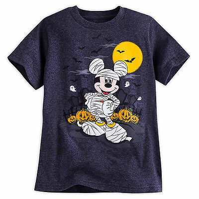 Disney Store Mickey Mouse Boys Mummy Glow in Dark Halloween Shirt 2/3 4