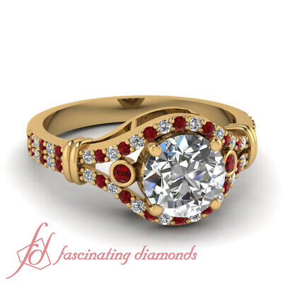 1.25 Carat Round Cut Yellow Gold Diamond Rings For Her With Ruby Gemstone GIA