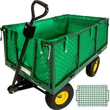 Chariot de transport de jardin à main remorque max 550 kg + bâche + panier metal