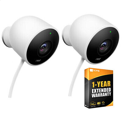 Nest Wired Outdoor 2-Way Audio Security Camera (2 Pack) w/ Extended Warranty