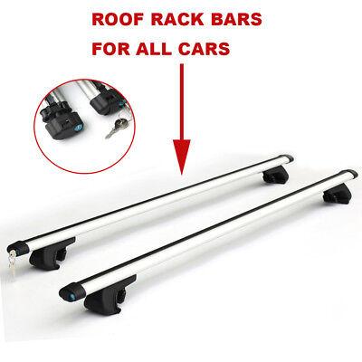 120cm Aero Car Roof Racks Aluminium Lockable Locking Silver Cross Bars UK Stock
