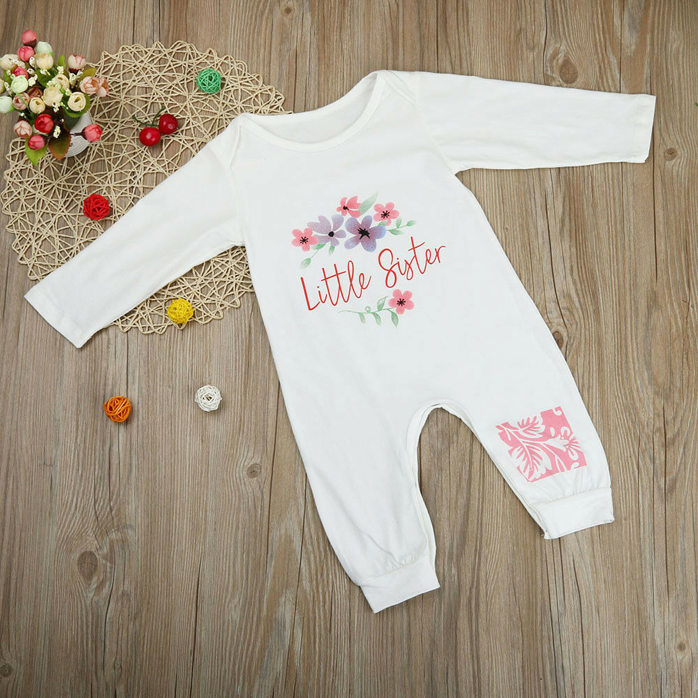 Newborn Infants Baby Girl Floral Romper Jumpsuit Long Sleeve Clothes Set Outfits
