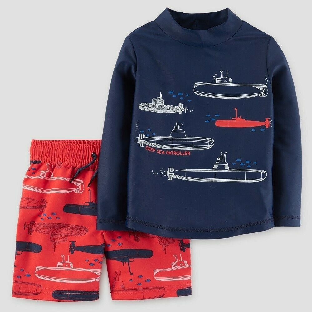Baby Boys' Submarines Rash Guard Set, just one you by carter's Blue/Red 18M Baby