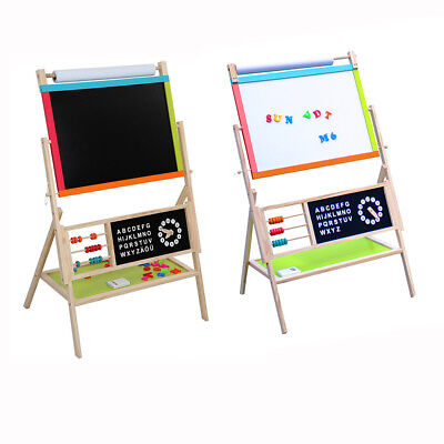 All In One Kid's Wooden Art Easel Double Side w/Paper Roll & Tray -