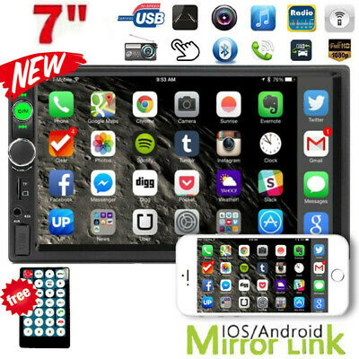 """7"""" Double 2DIN USB AUX Car Stereo Radio MP5 Player Bluetooth Touch Screen + Cam"""