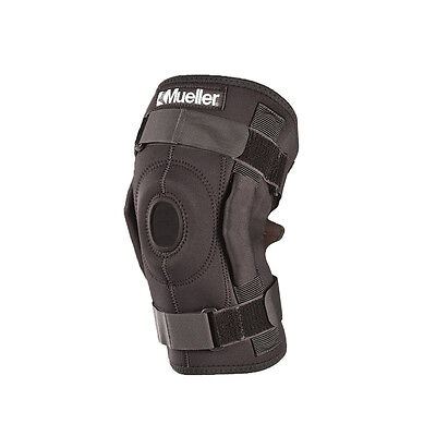 Mueller Hinged Wraparound Knee Brace, Black, Reg