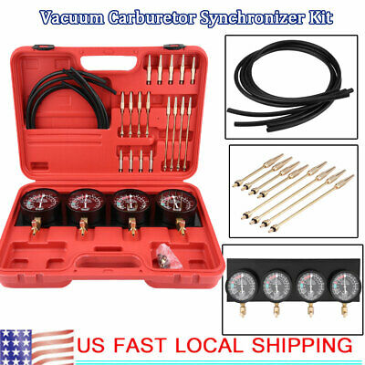 4Pc Motorcycle Fuel Vacuum Carburetor Carb Synchronizer Balancer Gauge Tools (Carb Kit Motorcycle)