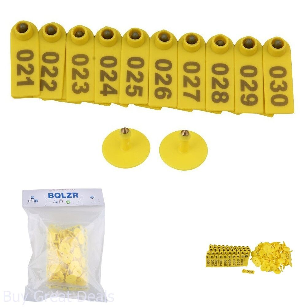 100PCS Small Pre Numbered Livestock Ear Tag for Pig Cow Goat Sheep Yellow