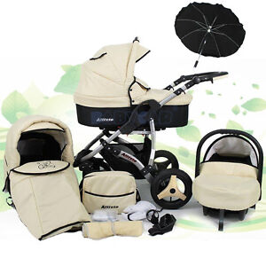 NEW-Baby-Travel-System-SWIVEL-WHEELS-PRAM-PUSHCHAIR-CAR-SEAT-UMBRELLA