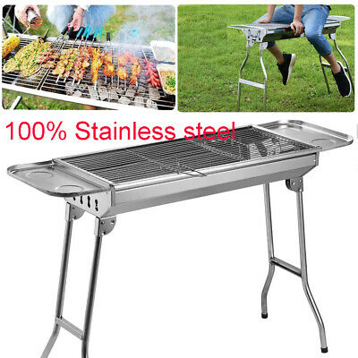 Fold Barbecue Charcoal Grill Stove Shish Kabob Stainless Steel BBQ Patio Camping - Freestanding Patio Grill