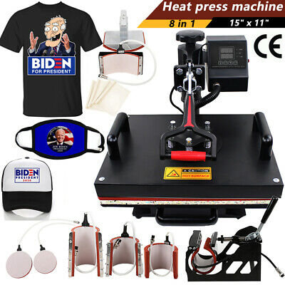 8 In 1 Heat Press Machine Transfer Sublimation For T-shirt Mug Plate Printers Us