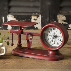 Farmhouse BALANCE SCALE CLOCK Country Rustic Vintage Style Tabletop Shelf Decor