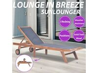 Folding Sun Lounger with Wheels Solid Teak and Textilene-44668