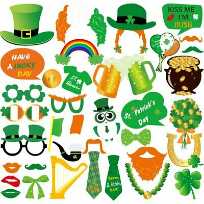 Irish Saint Patrick's Day Drinking Photo Booth Decorations Props Picture Ideas ](Decoration Booth Ideas)